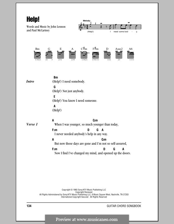 Help! (The Beatles): Lyrics and chords by John Lennon, Paul McCartney