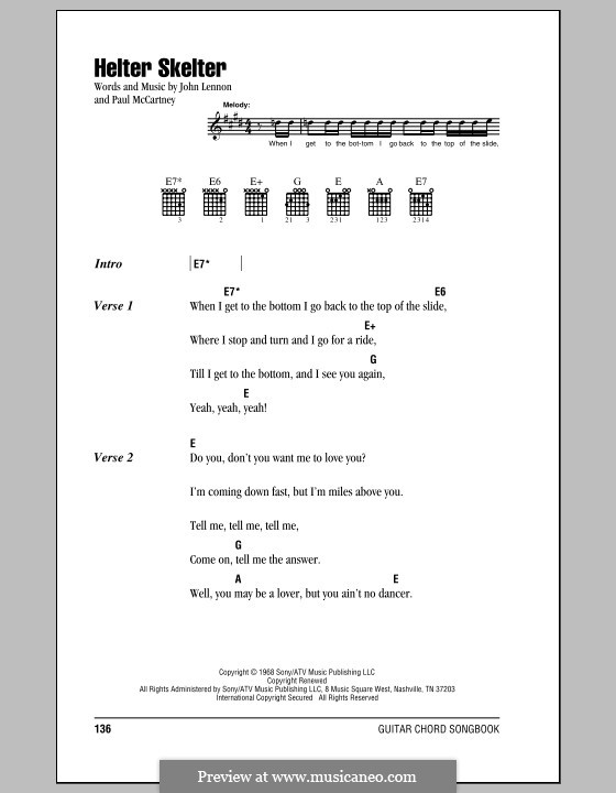 Helter Skelter (The Beatles): Lyrics and chords (with chord boxes) by John Lennon, Paul McCartney
