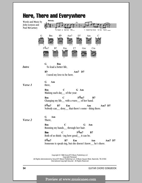 Here, There and Everywhere (The Beatles): Lyrics and chords (with chord boxes) by John Lennon, Paul McCartney