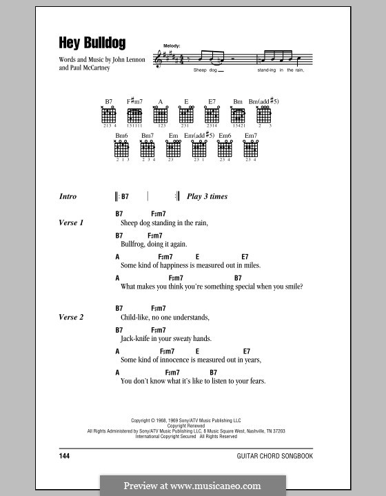 Hey Bulldog (The Beatles): Lyrics and chords (with chord boxes) by John Lennon, Paul McCartney