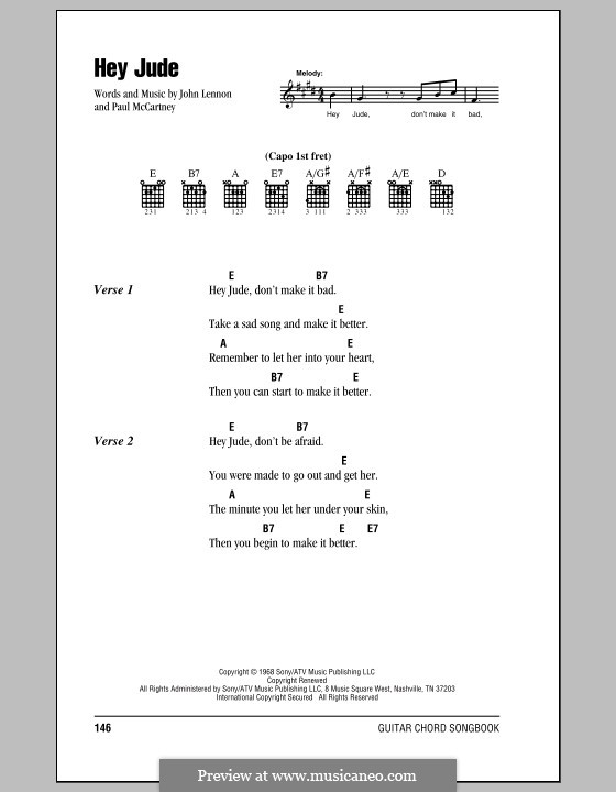 Hey Jude (The Beatles): Lyrics and chords (with chord boxes) by John Lennon, Paul McCartney