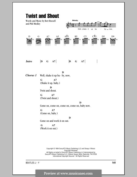 Twist and Shout (The Beatles): Lyrics and chords (with chord boxes) by Bert Russell, Phil Medley
