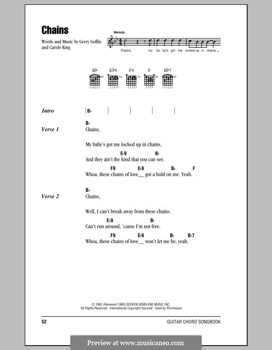 Chains By C King G Goffin Sheet Music On Musicaneo