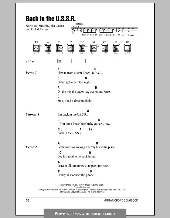 Back in the USSR (The Beatles): Lyrics and chords with chord boxes by John Lennon, Paul McCartney