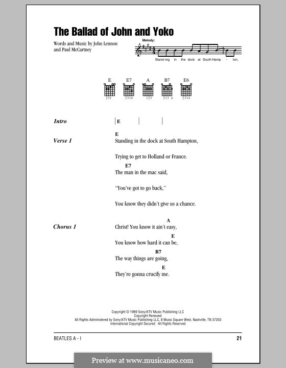 The Ballad of John and Yoko (The Beatles): Lyrics and chords with chord boxes by John Lennon, Paul McCartney