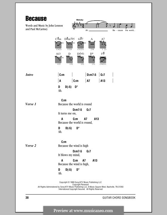 Because (The Beatles): Lyrics and chords (with chord boxes) by John Lennon, Paul McCartney
