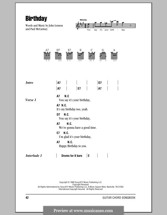 Birthday (The Beatles): Lyrics and chords (with chord boxes) by John Lennon, Paul McCartney