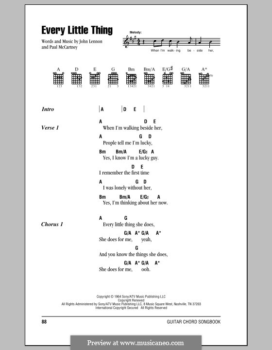 Every Little Thing (The Beatles): Lyrics and chords (with chord boxes) by John Lennon, Paul McCartney