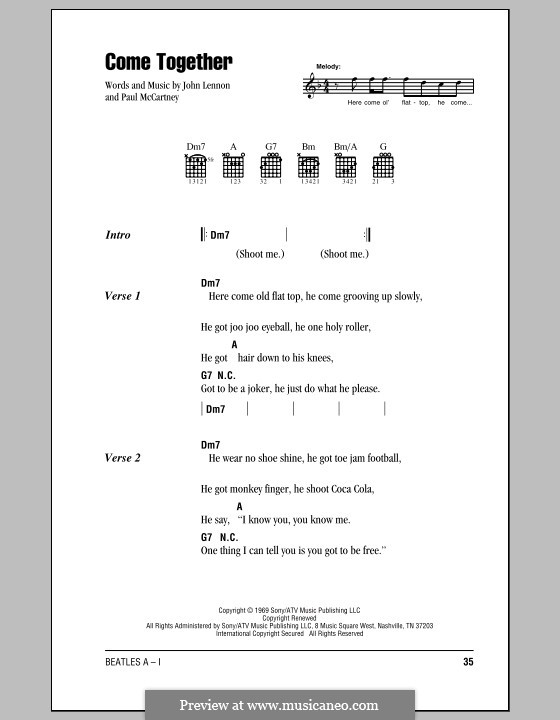 Come Together (The Beatles): Lyrics and chords (with chord boxes) by John Lennon, Paul McCartney