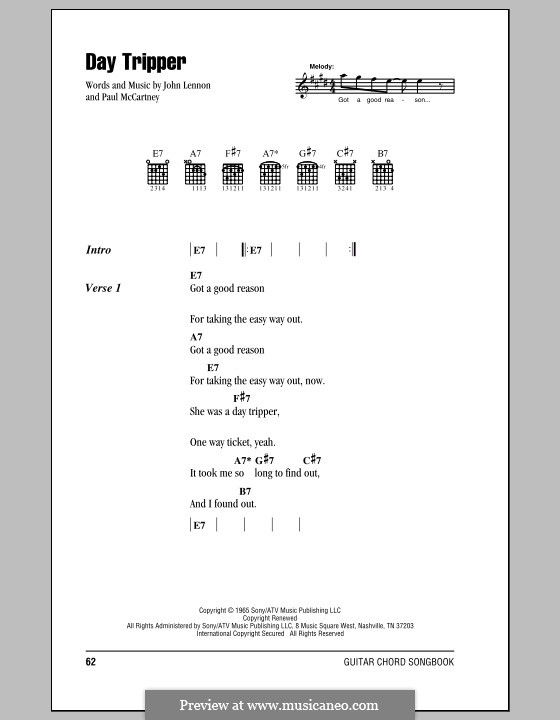 Day Tripper (The Beatles): Lyrics and chords (with chord boxes) by John Lennon, Paul McCartney