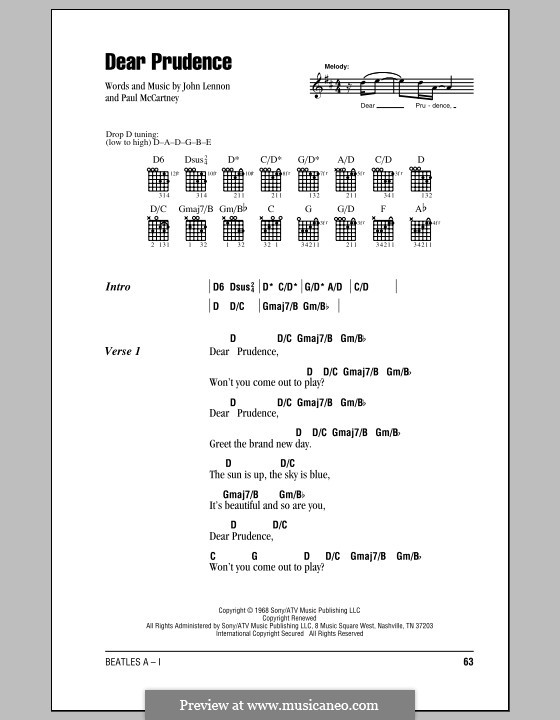 Dear Prudence (The Beatles): Lyrics and chords (with chord boxes) by John Lennon, Paul McCartney