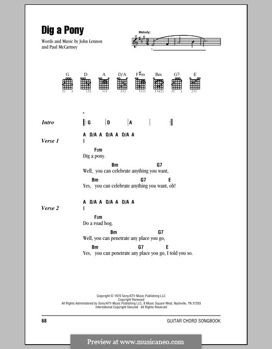 Dig a Pony (The Beatles): Lyrics and chords (with chord boxes) by John Lennon, Paul McCartney
