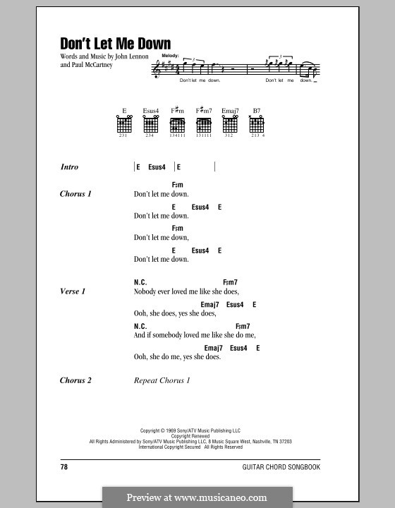 Don't Let Me Down (The Beatles): Lyrics and chords (with chord boxes) by John Lennon, Paul McCartney