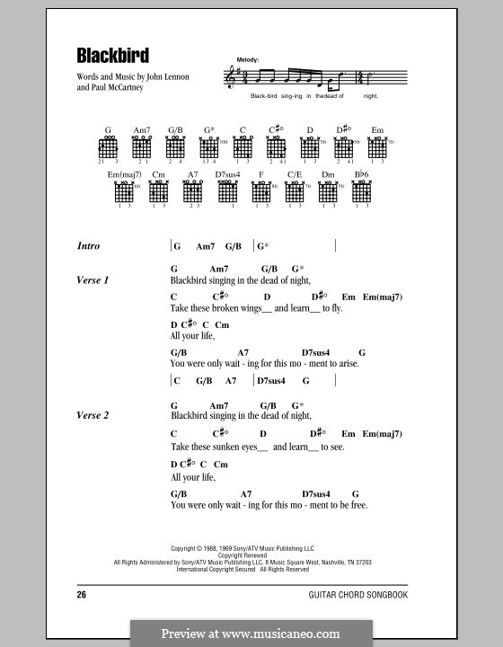 Blackbird (The Beatles): Lyrics and chords by John Lennon, Paul McCartney