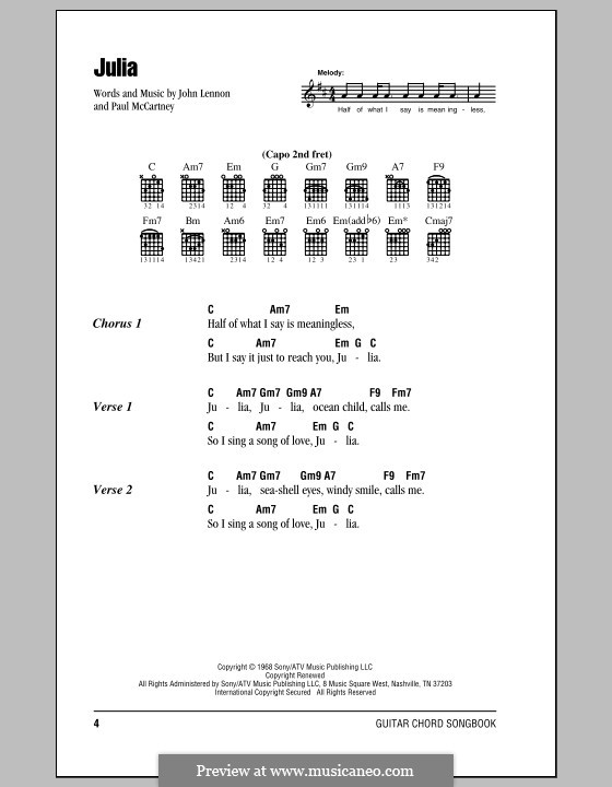 Julia (The Beatles): Lyrics and chords (with chord boxes) by John Lennon, Paul McCartney