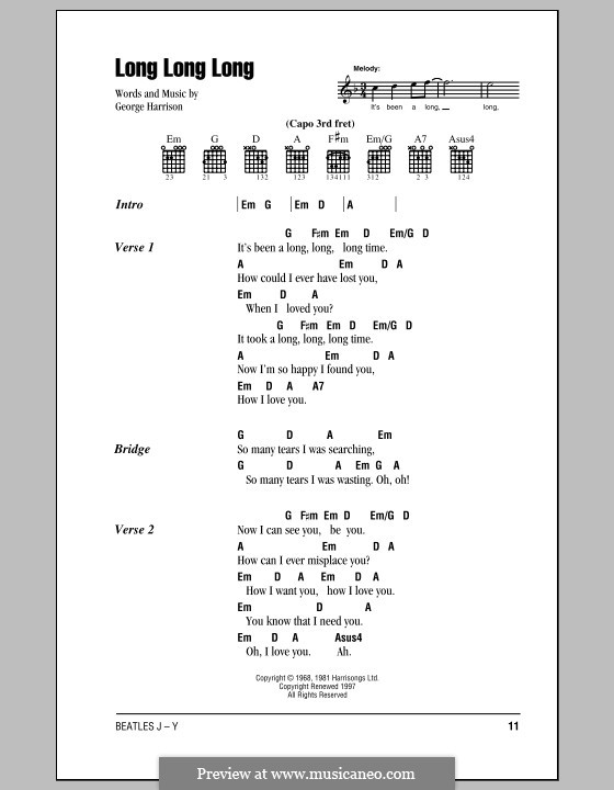 Long Long Long (The Beatles) by G. Harrison - sheet music on MusicaNeo