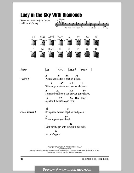 Lucy in the Sky with Diamonds (The Beatles): Lyrics and chords (with chord boxes) by John Lennon, Paul McCartney