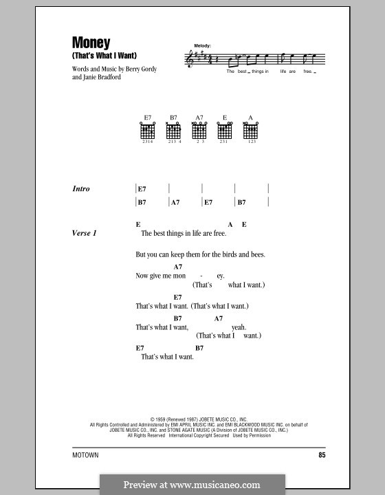 Money (That's What I Want): Lyrics and chords with chord boxes (The Beatles) by Berry Gordy, Janie Bradford