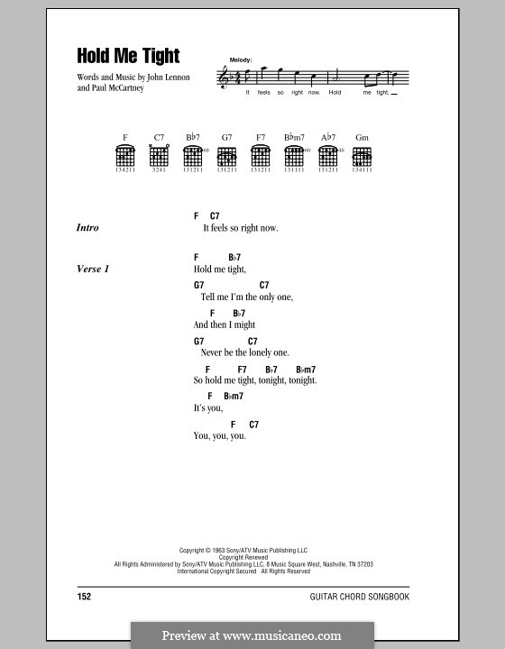Hold Me Tight (The Beatles): Lyrics and chords (with chord boxes) by John Lennon, Paul McCartney