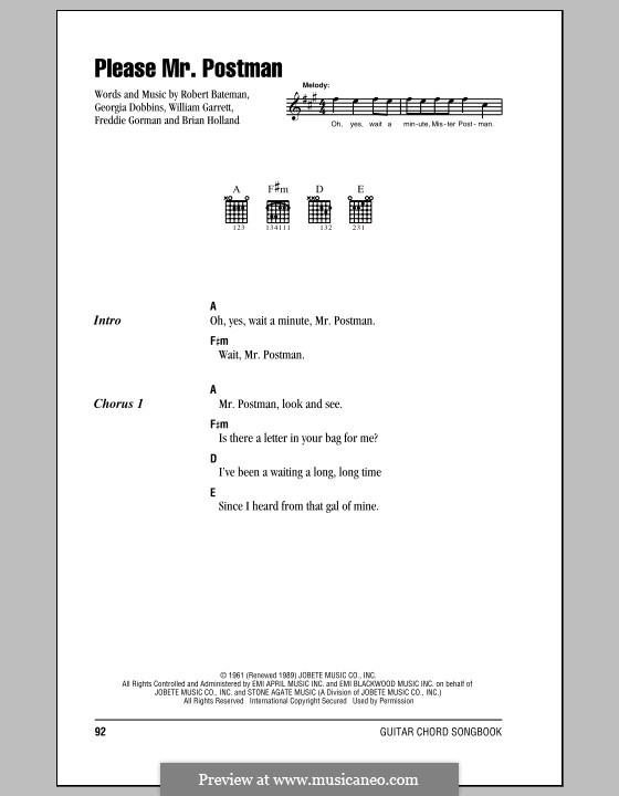 Please Mr. Postman: Lyrics and chords (with chord boxes) by Brian Holland, Freddie Gorman, Georgia Dobbins, Robert Bateman, William Garrett