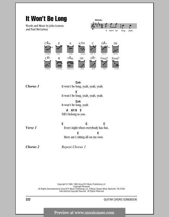 It Won't Be Long (The Beatles): Lyrics and chords (with chord boxes) by John Lennon, Paul McCartney