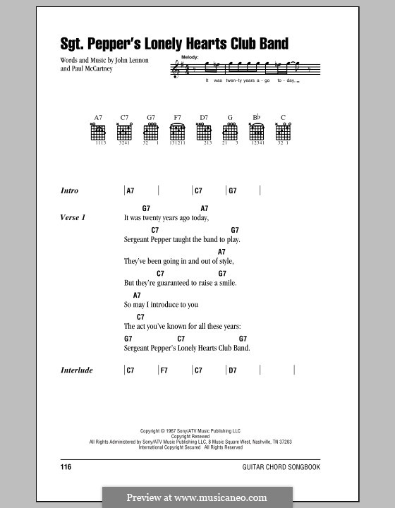 Sgt. Pepper's Lonely Hearts Club Band (The Beatles): Lyrics and chords (with chord boxes) by John Lennon, Paul McCartney