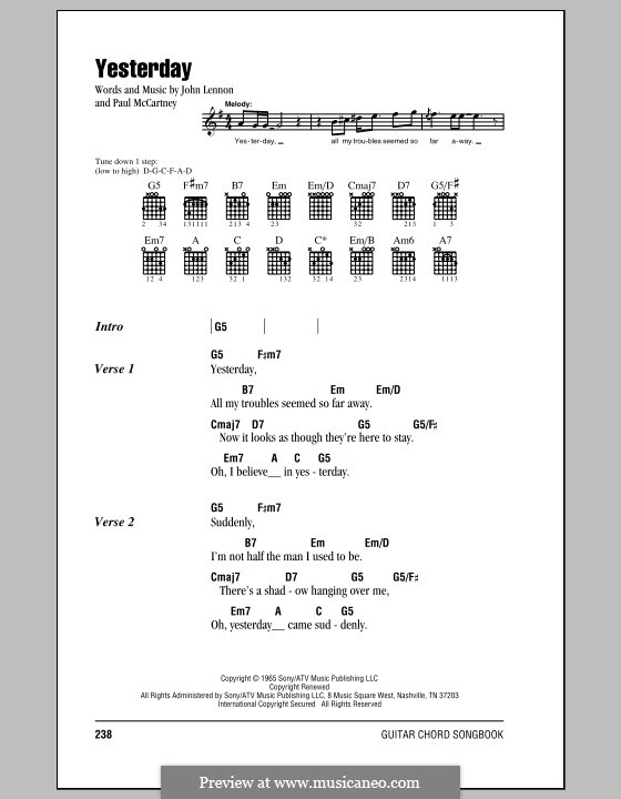 Yesterday (The Beatles): Lyrics and chords (with chord boxes) by John Lennon, Paul McCartney