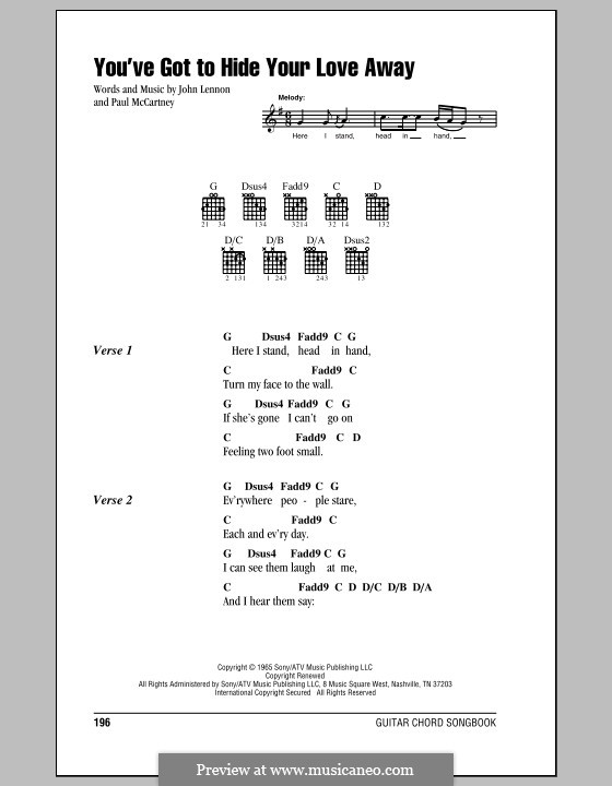 You've Got to Hide Your Love Away (The Beatles): Lyrics and chords (with chord boxes) by John Lennon, Paul McCartney