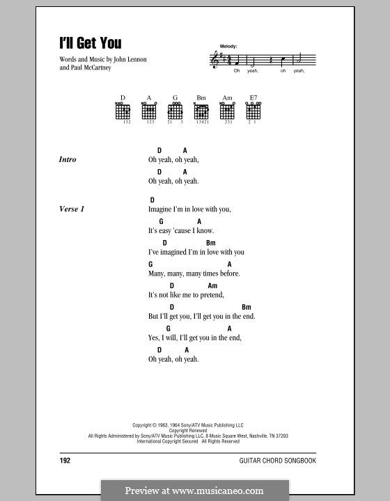 I'll Get You (The Beatles): Lyrics and chords (with chord boxes) by John Lennon, Paul McCartney