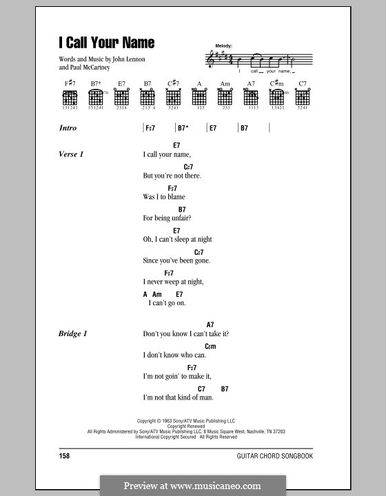 I Call Your Name (The Beatles): Lyrics and chords (with chord boxes) by John Lennon, Paul McCartney