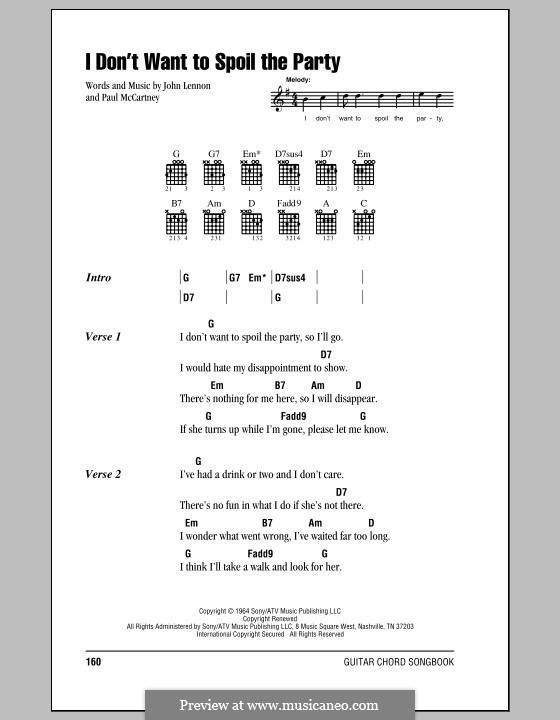 I Don't Want To Spoil the Party (The Beatles): Lyrics and chords (with chord boxes) by John Lennon, Paul McCartney