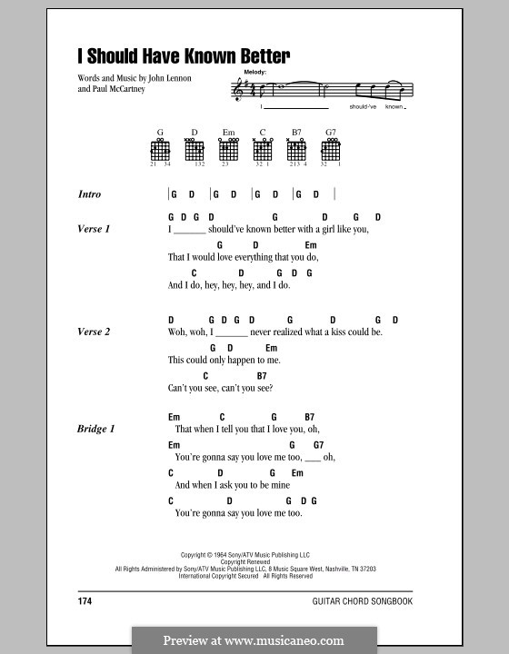 I Should Have Known Better (The Beatles): Lyrics and chords (with chord boxes) by John Lennon, Paul McCartney