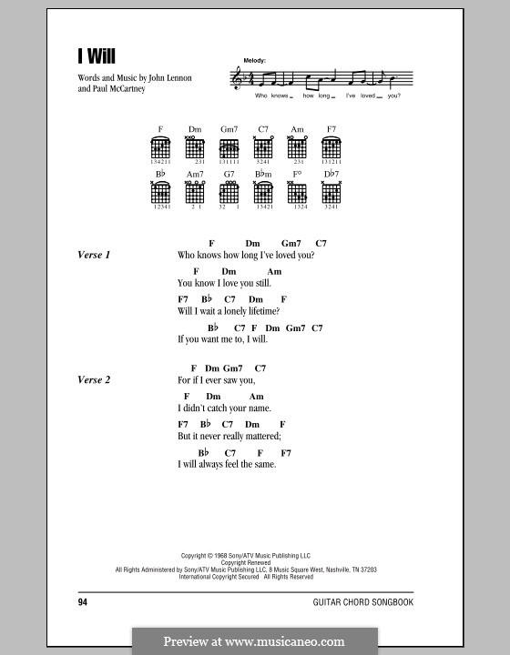 I Will (The Beatles): Lyrics and chords (with chord boxes) by John Lennon, Paul McCartney