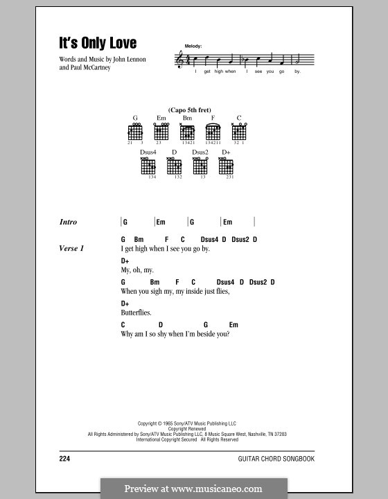 It's Only Love (The Beatles): Lyrics and chords (with chord boxes) by John Lennon, Paul McCartney