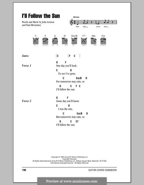 I'll Follow the Sun (The Beatles): Lyrics and chords (with chord boxes) by John Lennon, Paul McCartney