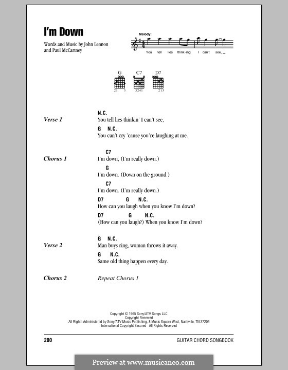 I'm Down (The Beatles): Lyrics and chords (with chord boxes) by John Lennon, Paul McCartney