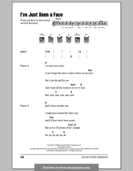 I've Just Seen a Face (The Beatles): Lyrics and chords (with chord boxes) by John Lennon, Paul McCartney
