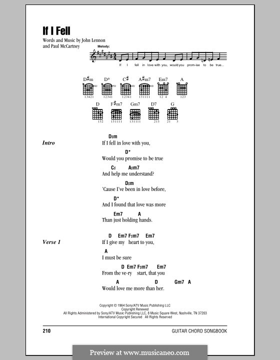 If I Fell (The Beatles): Lyrics and chords (with chord boxes) by John Lennon, Paul McCartney