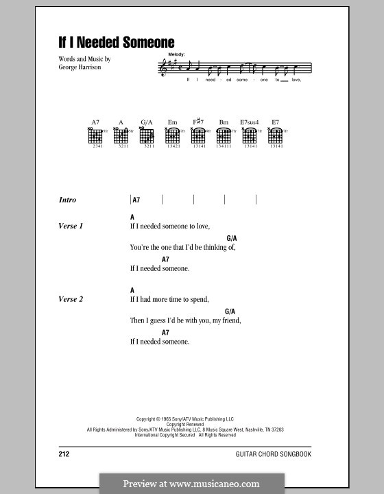 If I Needed Someone The Beatles By G Harrison Sheet Music On