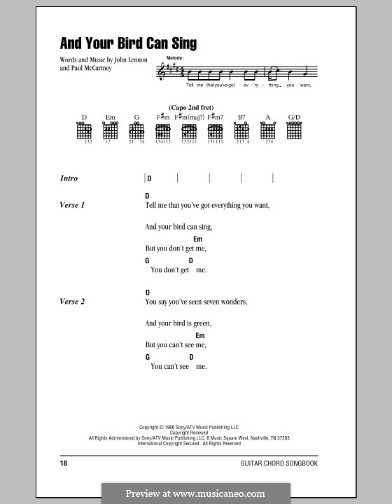 And Your Bird Can Sing (The Beatles): Lyrics and chords (with chord boxes) by John Lennon, Paul McCartney