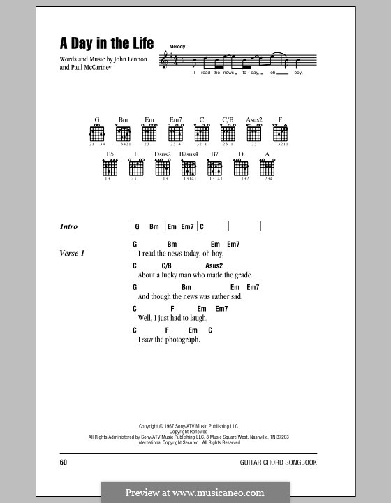 A Day in the Life (The Beatles): Lyrics and chords (with chord boxes) by John Lennon, Paul McCartney