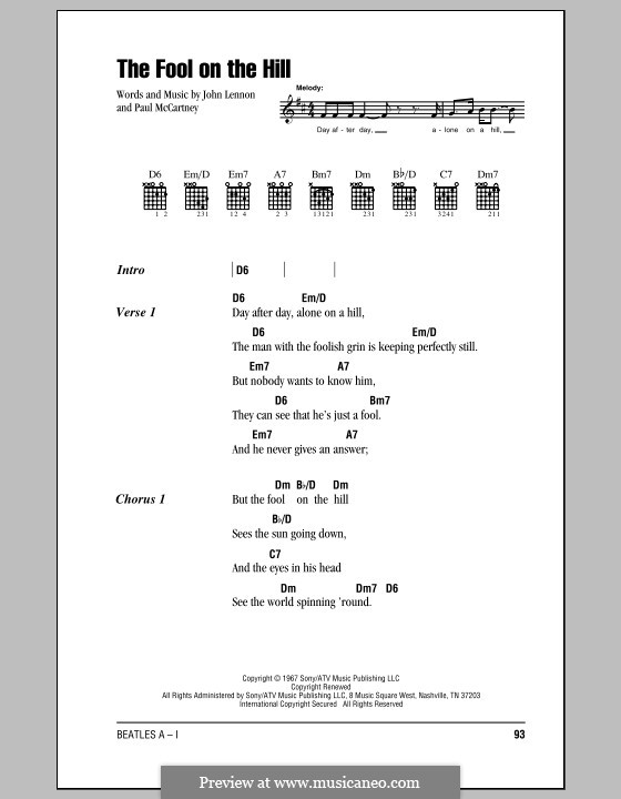 The Fool on the Hill (The Beatles): Lyrics and chords (with chord boxes) by John Lennon, Paul McCartney