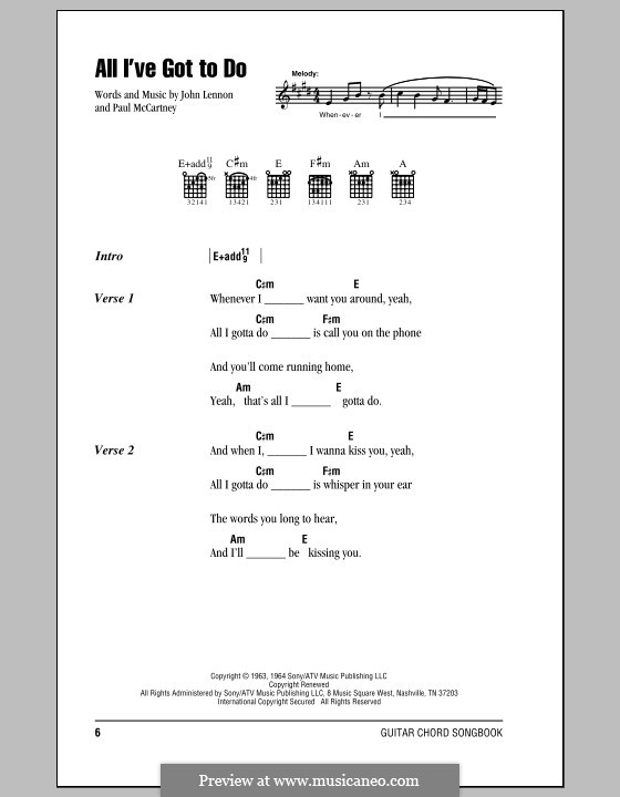 All I've Got to Do (The Beatles): Lyrics and chords (with chord boxes) by John Lennon, Paul McCartney