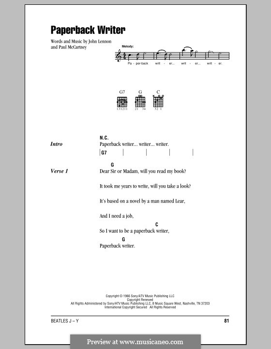 Paperback Writer (The Beatles): Lyrics and chords (with chord boxes) by John Lennon, Paul McCartney