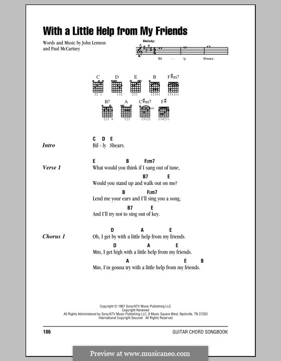 With a Little Help from My Friends (The Beatles): Lyrics and chords (with chord boxes) by John Lennon, Paul McCartney