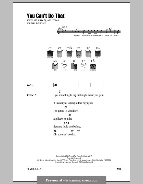 You Can't Do That (The Beatles): Lyrics and chords (with chord boxes) by John Lennon, Paul McCartney