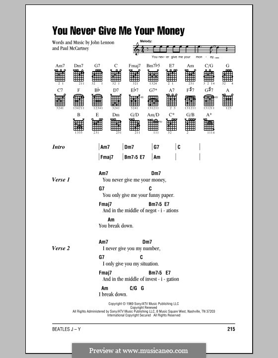 You Never Give Me Your Money (The Beatles): Lyrics and chords (with chord boxes) by John Lennon, Paul McCartney