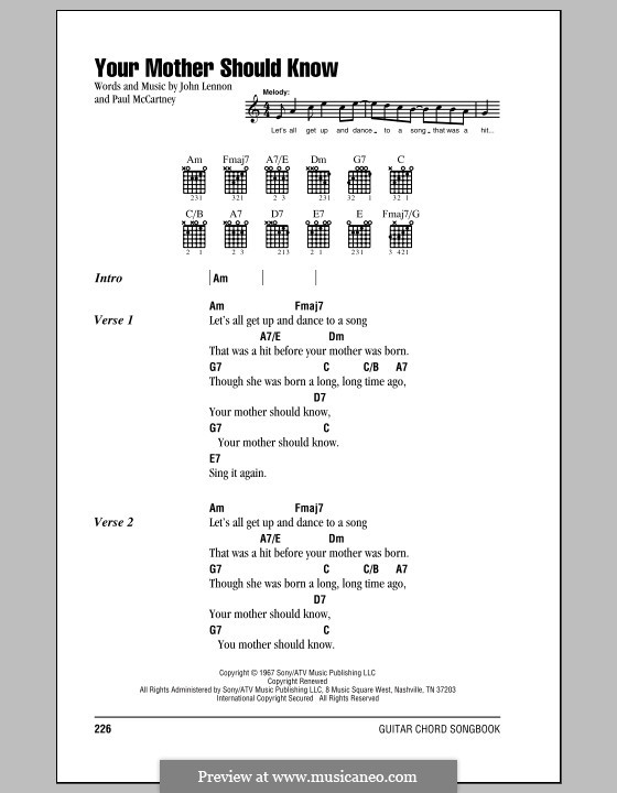 Your Mother Should Know (The Beatles): Lyrics and chords (with chord boxes) by John Lennon, Paul McCartney