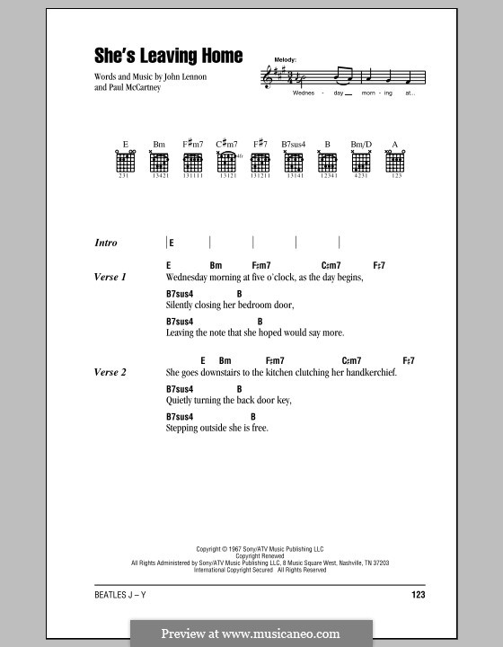 She's Leaving Home (The Beatles): Lyrics and chords (with chord boxes) by John Lennon, Paul McCartney