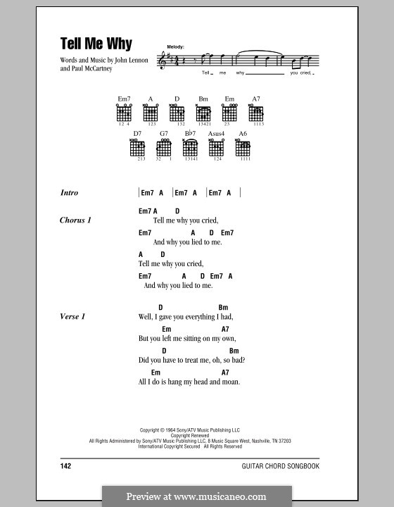 Tell Me Why (The Beatles): Lyrics and chords (with chord boxes) by John Lennon, Paul McCartney